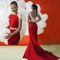 2016 Nova Traseira Aberta Longos Vestidos de Noite Manga Cap Pescoço Barco tule de Cristal Feito À Mão Beading Preto Bege Azul Vermelho Vestidos de Baile