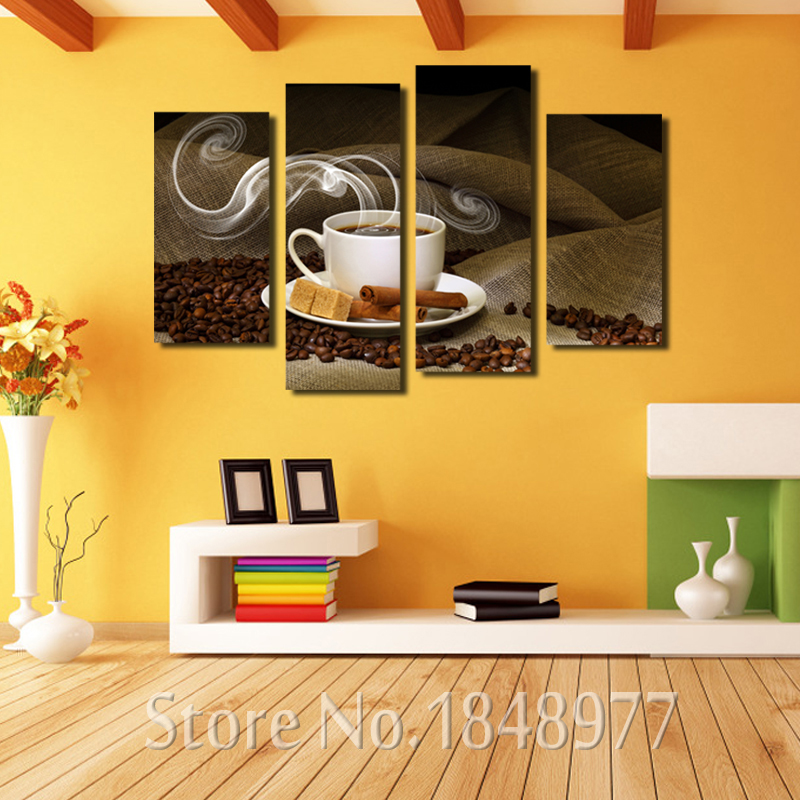 4 Piece Kitchen Wall Art Painting Coffee Cup Plate Pictures Prints ...