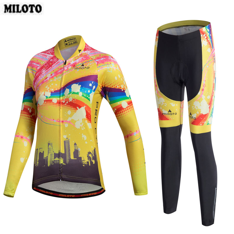 MILOTO Women Long Sleeve Bib Trouser Cycling Jersey Set Ropa Ciclismo Spring Autumn Bike Bicycle Clothing Set Gel Paded Pants teleyi men cycling jersey bike long sleeve outdoor bike jersey bicycle clothing wear breathable padded bib pants set s 4xl