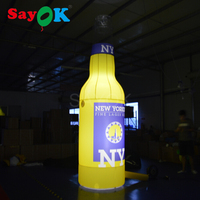 2018 Vivid design giant inflatable beer bottle with led white lights and logo printing