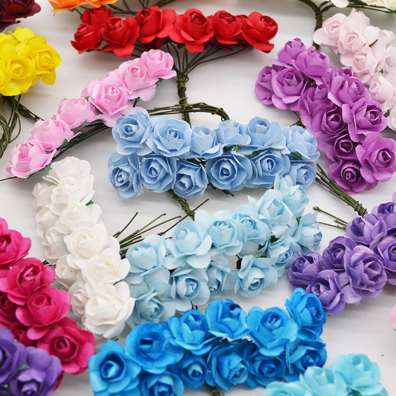 72Pcs/lot 2CM Multicolor Paper Artificial Flowers Mini Rose Flower Head Wedding Bouquet Scrapbooking Party Home Decoration