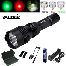 VASTFIRE 802 Hunting flashlight 3 color (whtie/red/green) Tactical High Performance Predator hunting light For 18650 battery