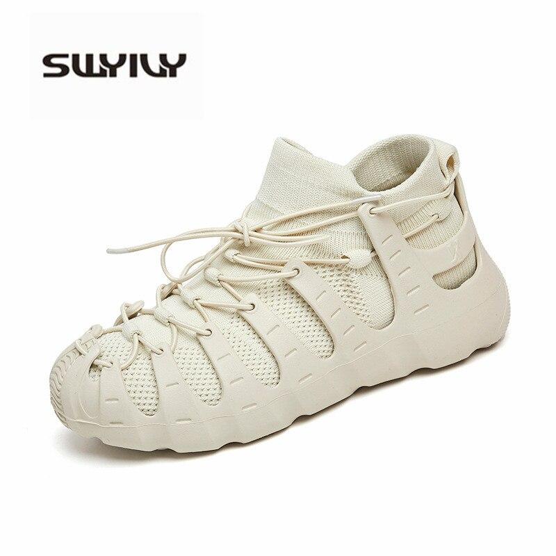 SWYIVY Baskets à Plateforme Femme Ulzzang Chaussure Blanc 2019 Automne Plateforme Papa Chaussures décontracté Baskets Chaussettes Pour Femme Grande Taille 41