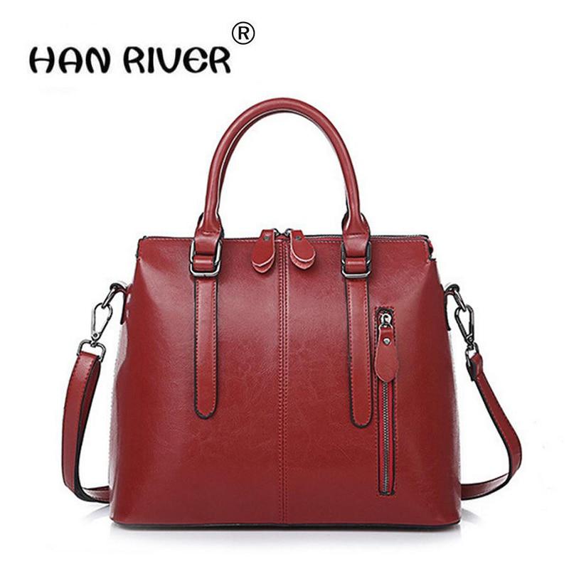 New 2018 Fashion Brand Genuine leather Women Handbag Europe and America Oil Wax Leather Shoulder Bag Casual Women повседневные брюки tide brand in europe and america d9048