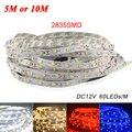 5 M o 10 M/Pack 2835 SMD Más Brillante que 3528 5050 SMD luz de Tira del LED DC 12 V 60 Led/M Cinta Decorativa de Interior Blanco Azul Rojo