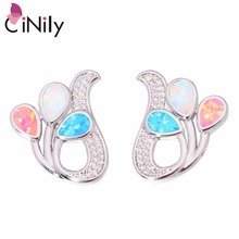 CiNily Created Blue White Pink Fire Opal Cubic Zirconia Silver Plated Wholesale for Women Jewelry Stud Earrings 7/8″ OH4374