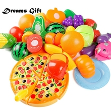24Pcs Kids Pretend Play Kids Kitchen Toys Fruit Vegetable Cutting Plastic Food Educational Toy Play Food Cooking Toys Girls ZW09