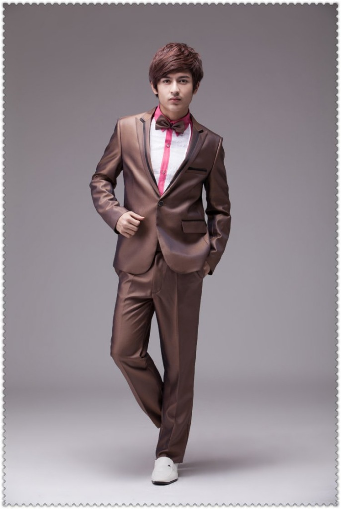 Online Shop Men golden brown wedding dress and groom Korean men's ...