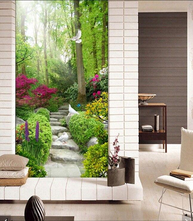d sala de fondo de pantalla mural no tejido escalera de piedra natural palomas porche