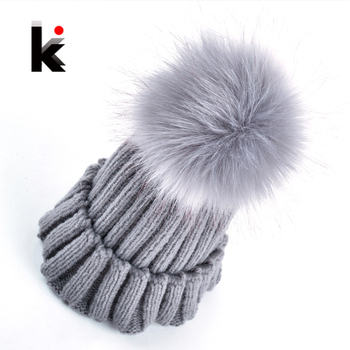 2018 New fashion women beanie hat imitation fur ball Knitting wool cap winter hats for women many colors 1