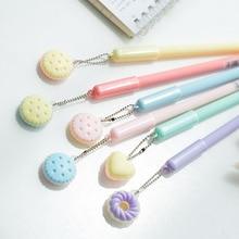 30 stks/partij Macaron cake donuts hanger gel pen 0.5mm Blauwe kleur refill schrijven pennen Briefpapier Kantoor schoolbenodigdheden EB441