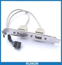 5pcs Desktop Computers Twin USB Jack Sockets Cable Slot Back Desk Top(China (Mainland))