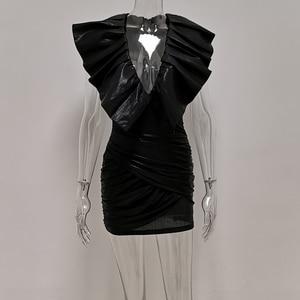 Image 5 - Jillperiダイアナ黒誇張フリル構造化ドレス女性ストレッチメタリックウェットルック固体衣装セレブパーティードレス