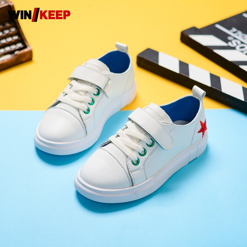 Summer New Sweet Cute Girls Skateboarding Comfortable Leather For Chidren Breathable Sneakers Kids Sport Shoes Embroidery Star