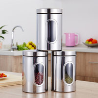 3pcs Easy Clean Stainless Steel Food Cans Tea Coffee Storage Jar With Lid Biscuits Transparent Sealed Kitchen Container Grains