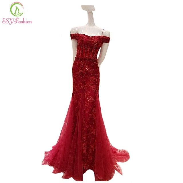af1038d882d Ssyfashion nuevo de gama alta de lujo Encaje flor rebordear sirena vestido  de noche novia sexy