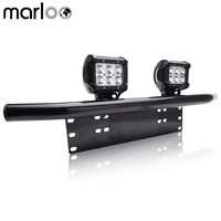 Marloo Universal Front License Plate Mounting Bracket With 2X Cube 18W LED Pod Work Driving Light