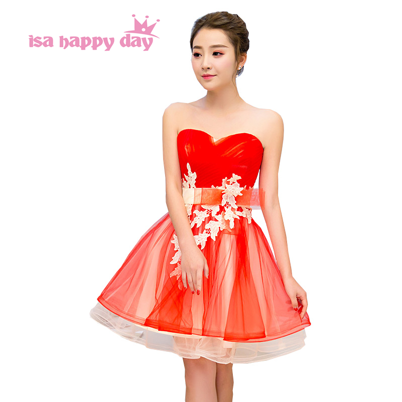 robe de soiree lace top fitted strapless sleeveless vintage red   bridesmaid     dress   party   dresses   corset back for teens H4222