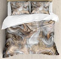 Marble Duvet Cover Set King Size Retro Style Paintbrush Colors Marbling Texture Watercolor Artwork Bedding Set Sand Brown Dust
