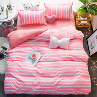 Best selling Cartoon Pink Comforter Bedding Sets 3/4pcs Geometric Pattern Bed Linings Duvet Cover Bed Sheet Pillowcases