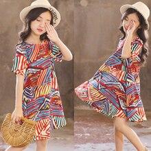 Girls Summer Dress Bohemian Casual Tutu Beach Sundress Teenage Kids Teen Clothes Girl Party Dress Princess Costume 6 10 12 Year