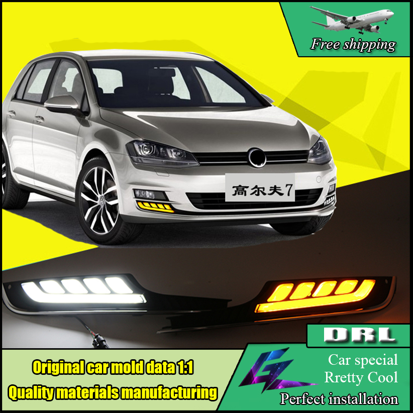 Car Styling LED DRL Daytime Running Light For Volkswagen VW Golf 7 MK7 2013-2017 LED Bumper DRL With Yellow Turn Signal 1set car accessories daytime running lights with yellow turn signals auto led drl for volkswagen vw scirocco 2010 2012 2013 2014