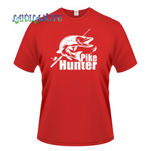 d79e40a5 High Quality Fashion Pike Hunter Fish Bite funny tee cute cotton cool tshirt  lovely summer costume