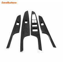 For Hyundai Tucson 2019 Car Interior Window Lift Button Trim Inner Door Armrest Cover Carbon fiber 2pcs недорого