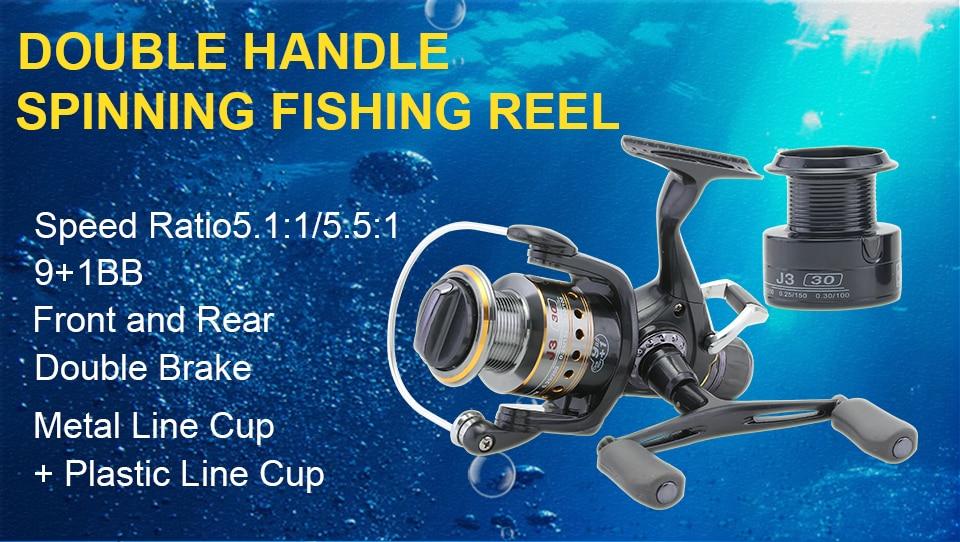GLUREE Saltwater Spinning Fishing Reel 5.51 9+1BB Metal Spool Sea Boat Dual Brake Carp Fishing Reels With Extra Spool 3000-5000 (7)