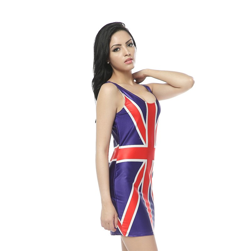 British Union Jack Flag Print Tank Dress Digital Print Women Clothing Shinny Tank Sundress