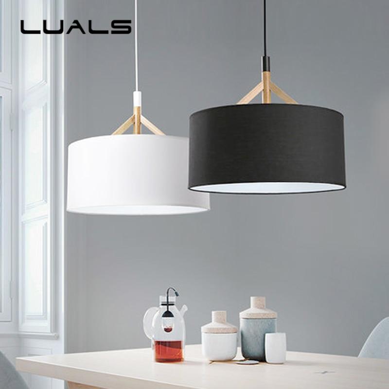 US $156.0 25% OFF|Vertraglich Pendelleuchte Schlafzimmer Lampe Nordic  Massivholz Tuch kunst home Beleuchtung Kreative Moderne Led  Pendelleuchten-in ...