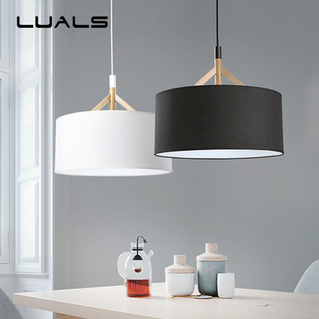 US $208.0 |Vertraglich Pendelleuchte Schlafzimmer Lampe Nordic Massivholz  Tuch kunst home Beleuchtung Kreative Moderne Led Pendelleuchten in ...