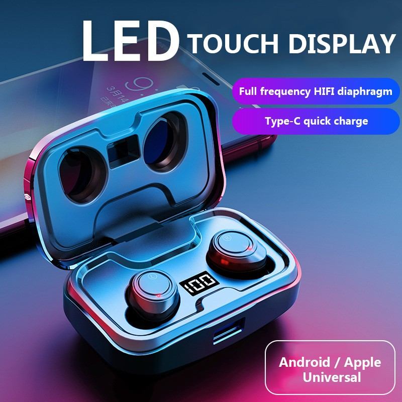 TWS X10 Bluetooth V5.0 In Ear Sports Wireless Earphone 3D Stereo Headphones IPX7 Waterproof With 3500mAh Charge box LED Display