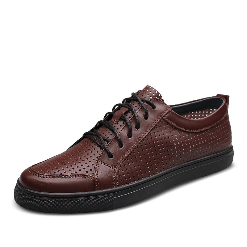 Big Size 38-47 New Summer Cow Leather Mens Shoes Casual Breathable Hole Cut-Outs Flats Genuine Leather Shoes Gents British Shoe pl us size 38 47 handmade genuine leather mens shoes casual men loafers fashion breathable driving shoes slip on moccasins