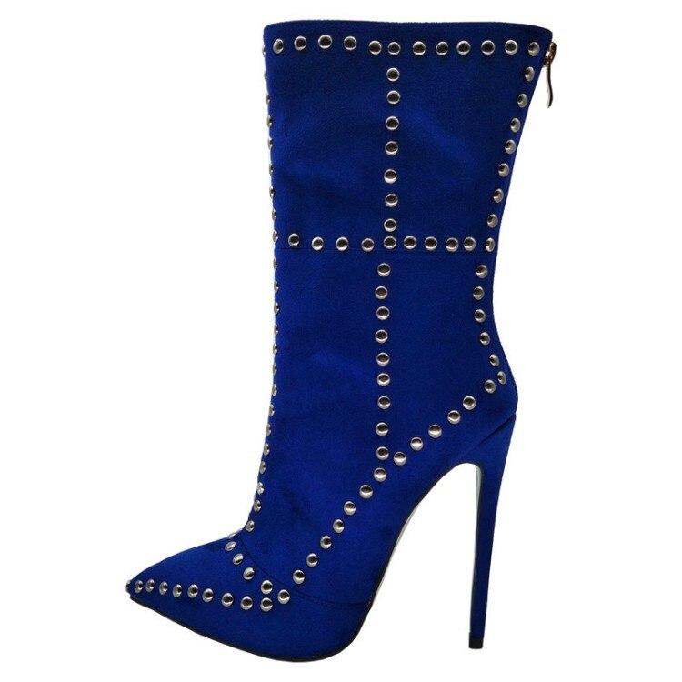 bcb9f9637df6df Black ef1125 Bleu 10 Taille 4 mollet Super Noir Talons Pointu Femme Mode  Bout Femmes Ef1125 5 Hauts Nous L'intention Bottes Chaussures Initiale ...