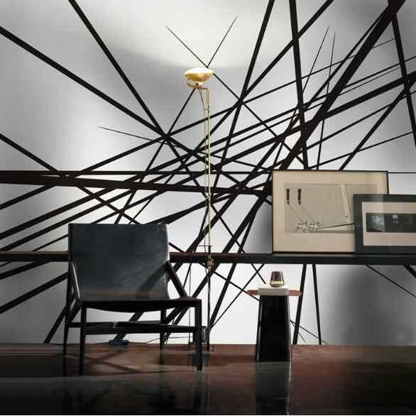 מופשט תמונה קיר Wallcoverings 3D מותאם אישית כל גודל טפטים ציורי קיר גליל נייר קיר אמנות דקור שחור לבן קו