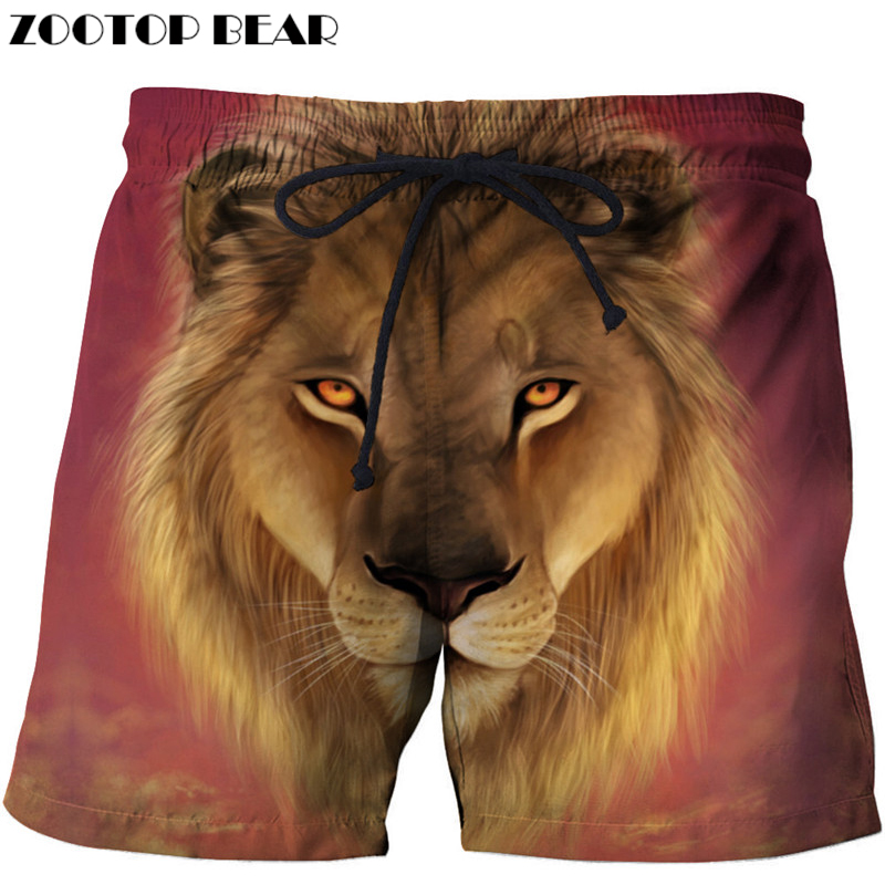 Sunrise Lion 3D Printed Board Shorts Elastic Waist Beach Shorts 2018 Summer Male Clothing Loose Homme Short Trousers Drop Ship