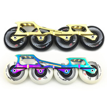 243mm Frame & 4 * 80mm 84A Wheels & Bearings for Inline Slalom Slide Free Skating Skates Base for Adult Kids Skates Basin DJ63 3x110mm slalom convert to inline speed skates frame with 11 25 3 layers 110mm wheels racing patines basin base 150mm to 180mm