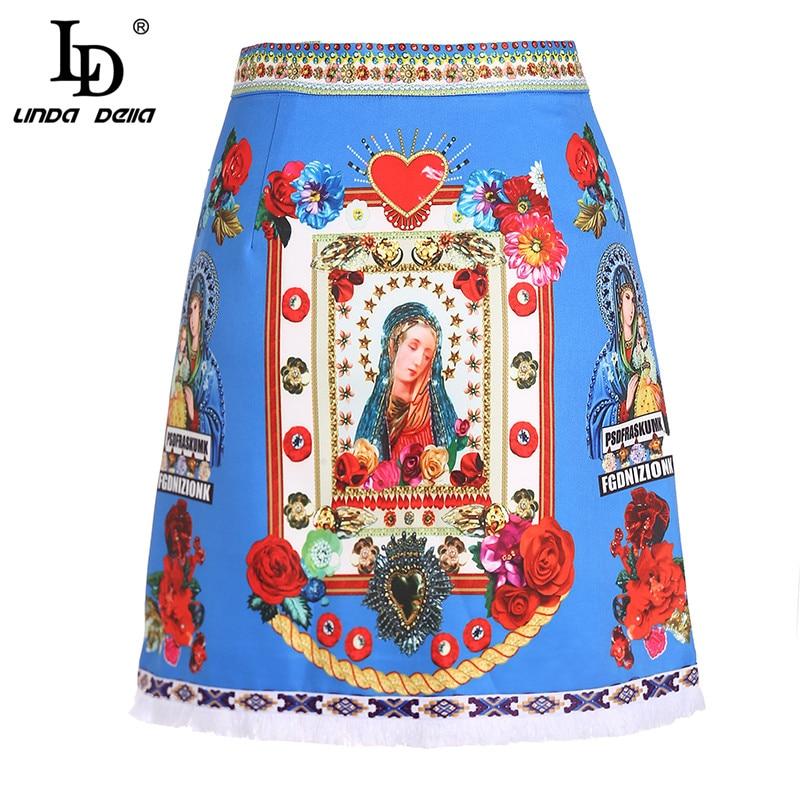LD LINDA DELLA Fashion Designer Elegant Skirt Women s Luxury Beading Angel Rose Floral Print Blue