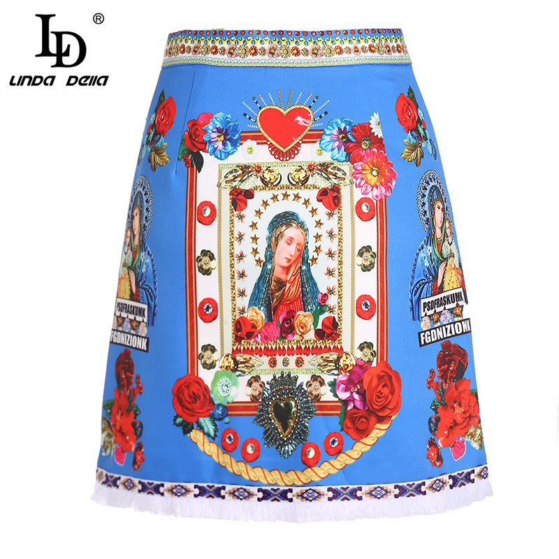 LD LINDA DELLA Fashion Designer Elegant Skirt Women's Luxury Beading Angel Rose Floral Print Blue Skirts A Line Casual Skirt-in Skirts from Women's Clothing    1