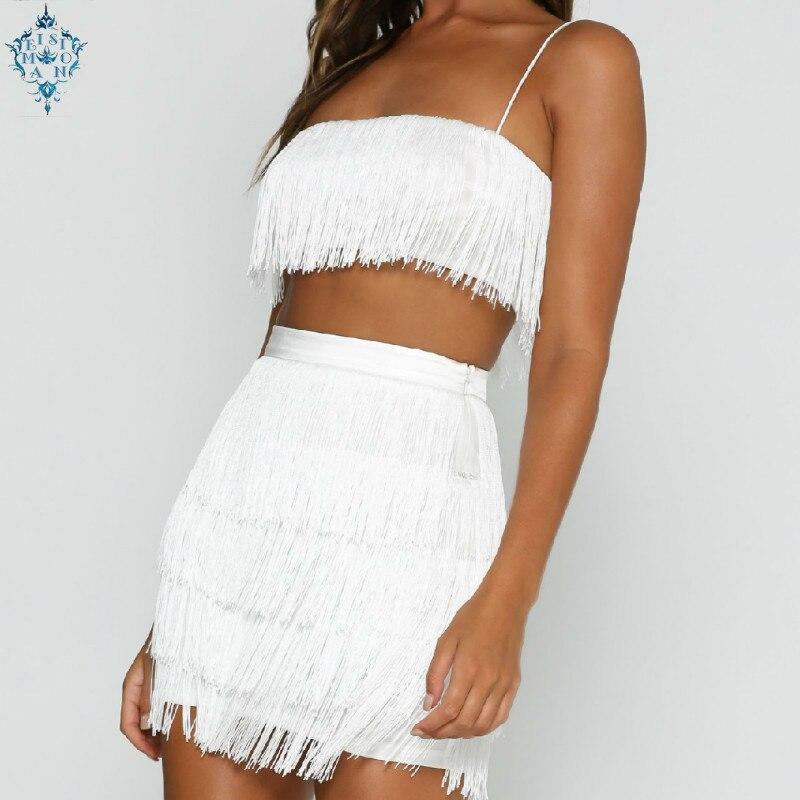 Ameision gland sans bretelles Sexy deux pièces ensemble Bandage robe 2019 rouge blanc été femmes robe élégante Mini Club robes de fête