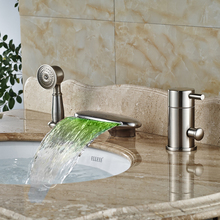Brushed Nickel Bathroom Faucets and Shower LED Light Waterfall Bath Tub Mixer Taps Deck Mounted