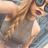 Summer Vintage Brown Faux Leather Suede Cropped Tank Top Bra Sexy Strap Hollow Camis Women Tops