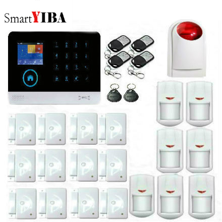 SmartYIBA Russian Spanish French Dutch Italian English Polish Voice Home Security WiFi GSM Alarm System Android