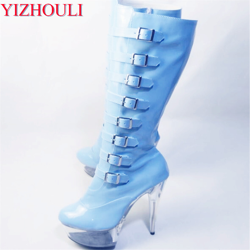 15cm Ultra High Heels Knee-High Boots Punk Hasp Shoes Side Zipper Round Toe Boots 6 Inch Fashion Gothic High Gladiator Boots 6 inch platform side zipper fashion boot women top bows suede sexy 15cm ultra high heels short boots martin crystal shoes
