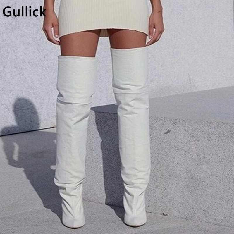 Plus récent 2018 cuissardes en cuir blanc créateur de mode grosses bottes sur le genou bottes minces talons hauts femme chaussure de scène