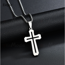 Eleple Christian Hollow Stainless Steel Cross White Necklaces for Men Women Gifts Fashion Simple Jewelry Manufacturer S-N387