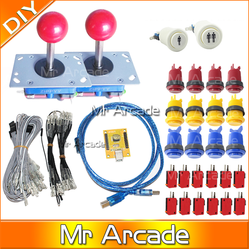 DIY PC PS/3 2 IN 1 Arcade controller 2 player MAME Multicade Keyboard Encoder USB Jamma Happy Style Push Buttons ZIPPYY Joystick arcade mame diy kit for 2 players pc ps 3 2 in 1 to joystck led button with icons interface usb 2 player mame interface
