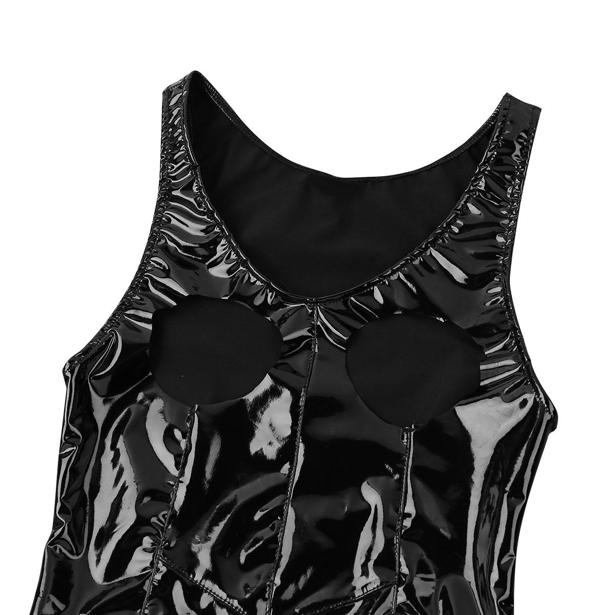 Womens Lingerie Sexy Bodysuit Open Crotch Zipper Bodystocking Sissy Bust Latex See-through Babydoll High Cut Teddy Body Suit 3