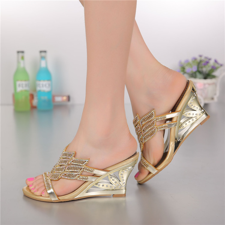 2016 Summer New Diamond Slope With High Heeled Wedges Online Shoes Sandals Size 11 Womens Golden Open Toe Slippers6